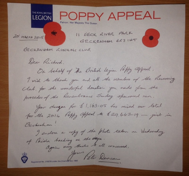 Letter from The Royal British Legion